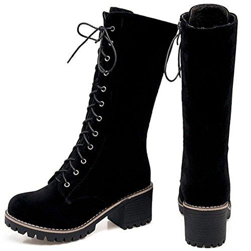 TAOFFEN Women Western Block Heel Martin Boots Zipper Knight Boots Black nLhbV