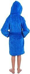 Simplicity Children\'s Coral Velvet Hooded Bathrobe Robe w/ Pockets,Royal Blue,L