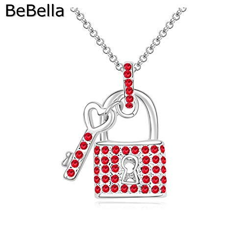 (Lock and Key | Pendant Necklace with Crystal for Women | Gift)