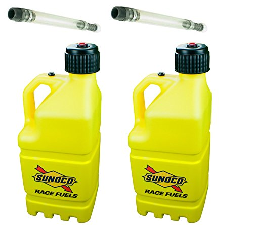 2 Pack Sunoco 5 Gallon Yellow Race Utility Jugs and 2 Deluxe Filler Hoses (Race Yellow)