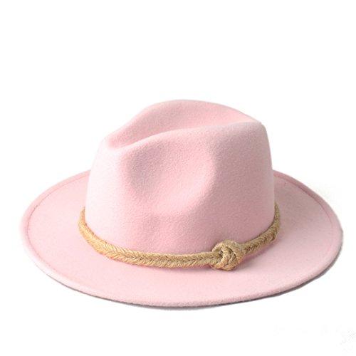 YWHY Women Men Elegant Wool Felt Fedora Hat with Hemp Rope for Autumn (Color : 7, Size : 57-58CM)