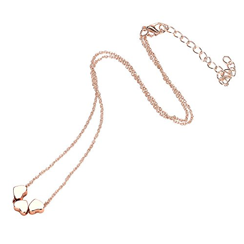Fashion Necklace, Hoshell Beauty Charm Women Stainless Steel Three Heart Pendant Chain Necklace (Rose Gold)
