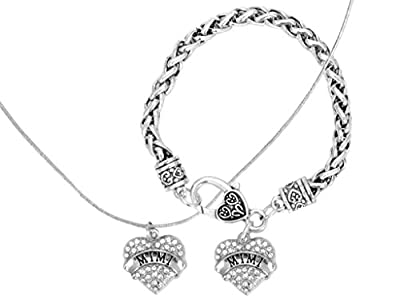Mother's Day Gift for Mimi Engraved Gift Jewelry For Mimi Crystal Adorned Heart Shaped Pendant Necklace & Bracelet Jewelry Set Gift for Mom or Grandma