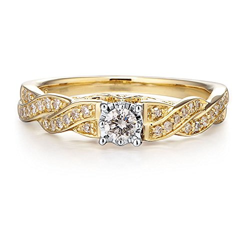 Diamond Engagement Ring 10K Yellow Gold and Rhodium Plated 10k White Gold 1/4 cttw (HI, I2 I3)
