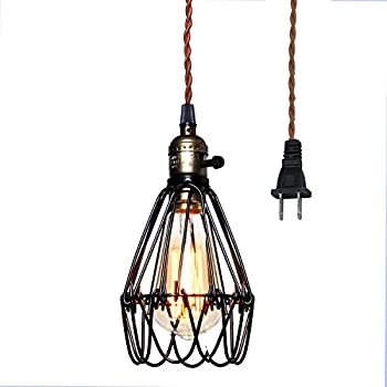 Vintage Pendant Light, Pauwer Wire Cage Lamp Plug In Edison Pendant Light  Cage With On/off Switch