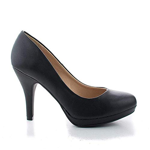 City Classified Womens Round Toe Pump Shoes Black PU -