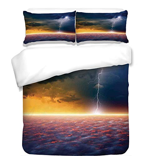 iPrint 3Pcs Duvet Cover Set,Lake House Decor,Apocalyptic Sky View End of The World Majestic Mystic Sky Solar and Flames Image,Orange Blue,Best Bedding Gifts for Family/Friends by iPrint