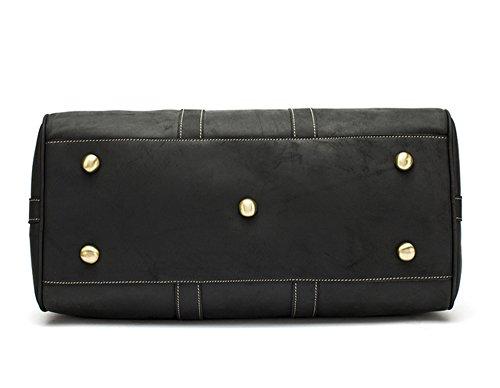 Bolsos de hombres Xinmaoyuan Crazy Horse Retro hombres piel Bolsa de viaje de gran capacidad portátil bolsa de equipaje de viaje,negro Negro