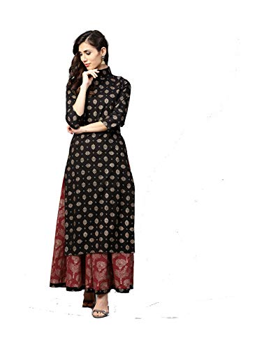 Women Black & Maroon Printed Kurta with Skirt Full Set Dream Angel Fashion (XX-Large-42)