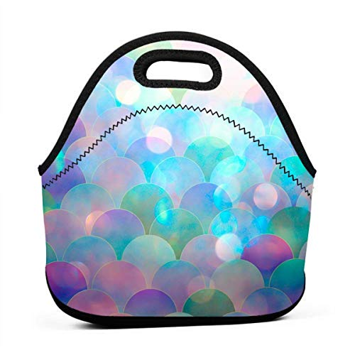- Lunch Box Sparking Mermaid Fish Scales Gourmet Lunchbox Organizer for Men Women Adults, Work School Picnic Beach Lunch Holder Neoprene Handbag Reusable Drinks Holder