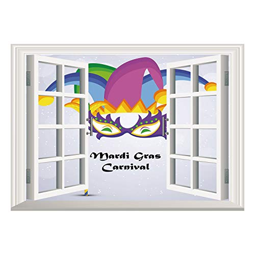 SCOCICI Wall Mural, Window Frame Mural/Mardi Gras,Mardi Gras Carnival Inscription with Traditional Party Icons Clown Costume Hat Decorative,Multicolor/Wall Sticker Mural ()
