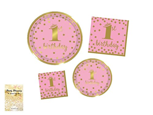 1st Birthday Girl Party Supplies, Pink and Gold Design, Bundle of 4 Items: Dinner Plates, Dessert Plates, Lunch Napkins and Beverage Napkins ()