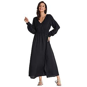 c33d20b0afcb Kate Kasin V Neck Empire Waist Solid Boho Bohemian Maxi Dress L KK806-1