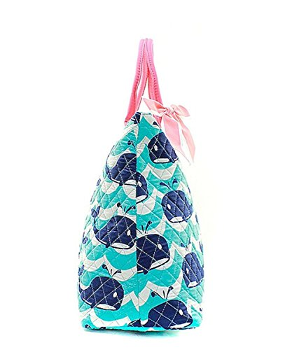 Ngil Quilted Cotton Extra Large Overnight Travel School Tote Bag (Splash Whale Navy Blue) by N.Gil (Image #3)