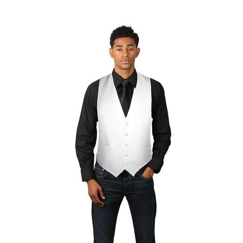 SixStarUniforms Men's White Full Back Dress Vest Large