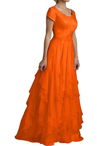 Avril Arancione Del Sera Bicchierino Le Vestito Di Stratificato Da Increspano Dal Manicotto Per Lunga Promenade Donne Il Lunga qqRwxBSg