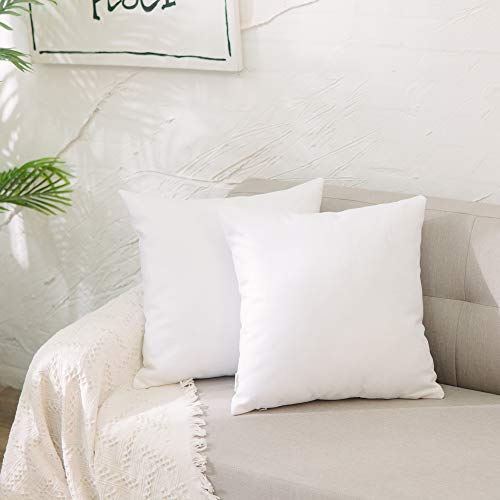 NATUS WEAVER 2 Pieces White Pillow Case Soft Faux Linen Square Decorative Throw Cushion Cover Pillowcase with Smooth Hidden Zipper for Sofa 18