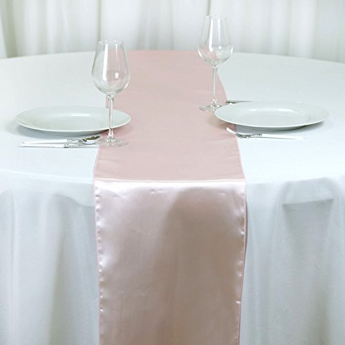BalsaCircle 10 pcs 12 x 108-Inch Blush Satin Table Top Runners - Wedding Party Event Reception Occasions Linens Decorations