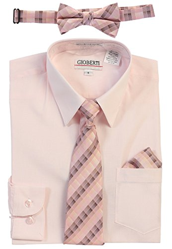 Gioberti Boy's Long Sleeve Dress Shirt and Plaid Tie Set, Pink, Size 4T