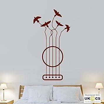 Musik Vögel Freiheit Coole Gitarre Fliegen Schlafzimmer Wand Kunst  Aufkleber Vinyl Zimmer Schlafzimmer Jungen Mädchen Kinder