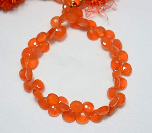 GemAbyss Beads Gemstone Carnelian Heart Shape Beads, Carnelian Faceted Cut Heart Briolettes, Gemstone for Jewelry, 8mm - 9mm Approx, 9 Inch Strand Code-MVG-23952