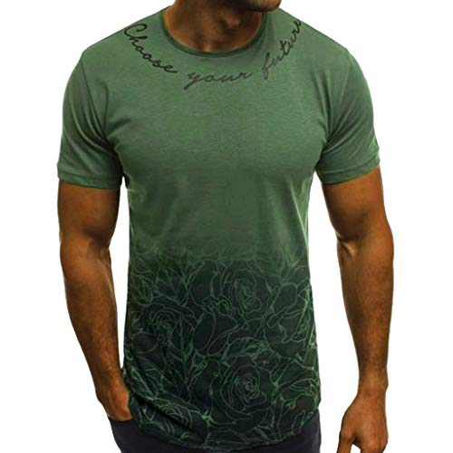 refulgence Men Tops Blouses Muscle Flower Print Short Sleeve O-Neck T-Shirt Summer Fashion(Army Green,L)