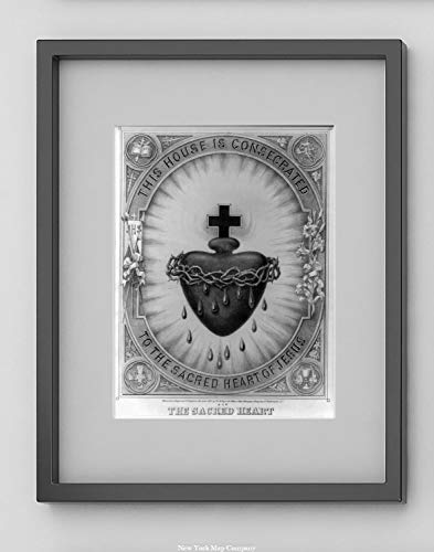 New York Map Company  The Sacred Heart. This House is consecrated to The Sacred Heart of Jesus|1870 Catholic, Christianity, Crosses & Crown of Thorns Lithograph ()