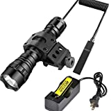 BESTSUN 1200 Lumens Portable Tactical Waterproof LED Flashlight Ultra Bright Handheld Torch Pressure Switch with 1'' Offset Mount