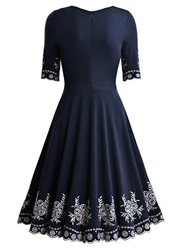 Soire Femme Bleu Miusol Rond Fleur de Robe lgant Col Broderie TO0ap