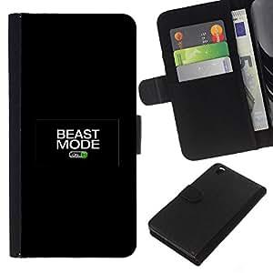 KLONGSHOP // Tirón de la caja Cartera de cuero con ranuras para tarjetas - Modo bestia activado - HTC DESIRE 816 //