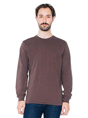American Apparel Men Fine Jersey Crewneck Long Sleeve T-Shirt Size XL Brown -