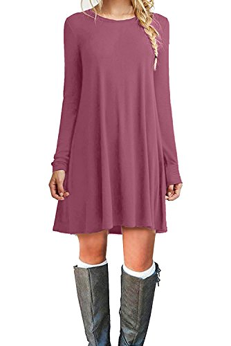 MOLERANI Women's Casual Plain Long Sleeve Simple T-Shirt Loose Dress (M, Mauve) (Best Dress Websites For Juniors)