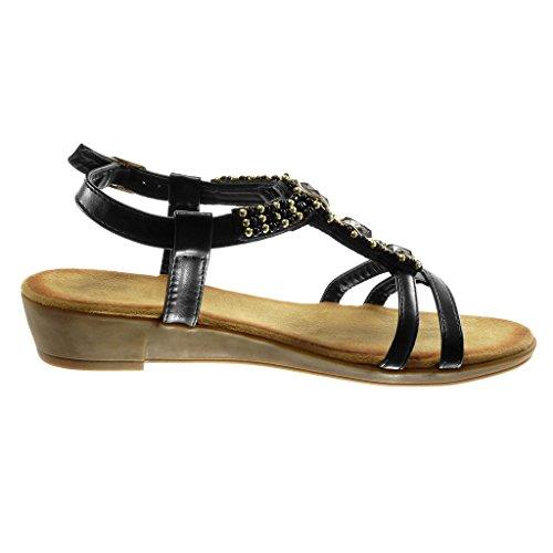 Angkorly Zapatillas Moda Sandalias Correa de Tobillo Correa Mujer Strass Perla Dorado Plataforma 3.5 cm Negro
