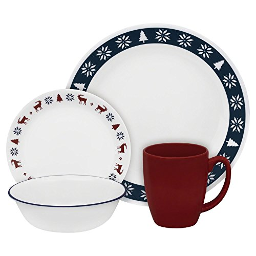 Corelle Livingware 16 piece Set Nordic Blu includes 4 each 10.25 inchdinner plate, 6.75 inch Bread and Butter Plate, 18 ounce Soup CerealBowl and 11 ounce Mug ()