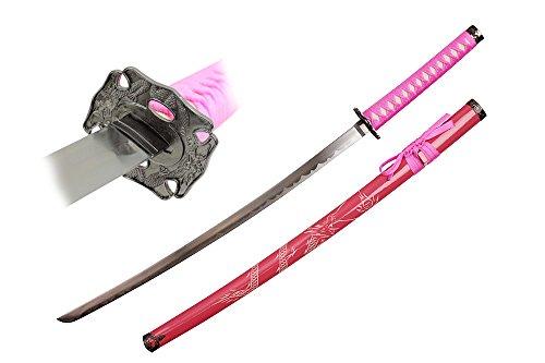 Swordmaster - PINK Japanese Samurai Katana Sword with Dragon Engraved Scabbard and Tsuba -