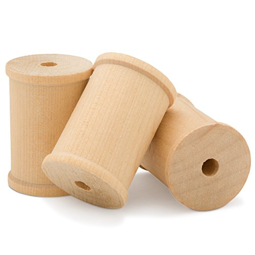 "2"" inch x 1.5"" inch Large Unfinished Wood Spools - Pack of 12 Barrel Shaped Spools 
