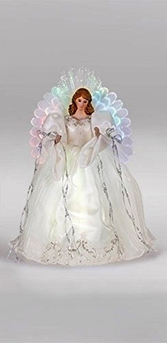 Ivory Angel 16 inch Plush Fabric Fiber Optic Christmas Tree Topper Decoration (Topper Tree Angel Ribbon)