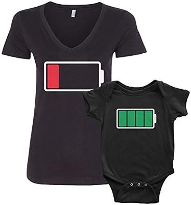 Threadrock Full and Low Battery Infant Bodysuit & Women's V-Neck T-Shirt Set