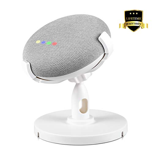 iKammo Google Home Mini Table Stand Holder, Table Stand Holder Accessories, 360°Adjustable Rubber Pedestal Stand Bracket Mount Enhanced Sound Visibility(White)