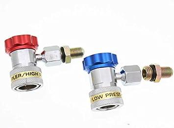 2 tlg R134a Schnellkupplung für Klimaanlage Kältemittel Adapter Hoch /& Nieder DE