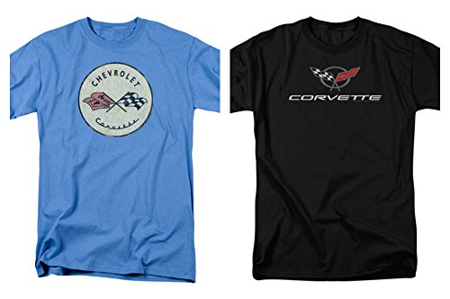 e Vette Modern & Original Logo Men's Adult T-Shirts Black & Blue (2XL) ()