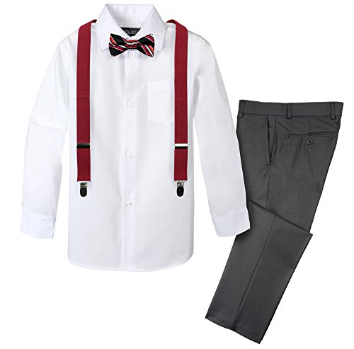 Red Patterned Tie (Spring Notion Boys' 4-Piece Patterned Dress up Pants Set 10 Charcoal/Red)