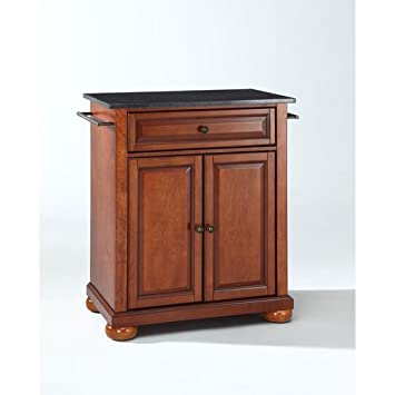 Crosley Furniture Alexandria Cuisine Kitchen Island With Solid Black Granite Top Classic Cherry