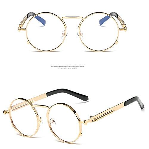 Círculo UV400 Kennifer de Metal Hombres Espejo y Gafas Dorado Redondas Ronda de Gafas Marco Para Mujeres Eyewear Sol Urnzqw7AU