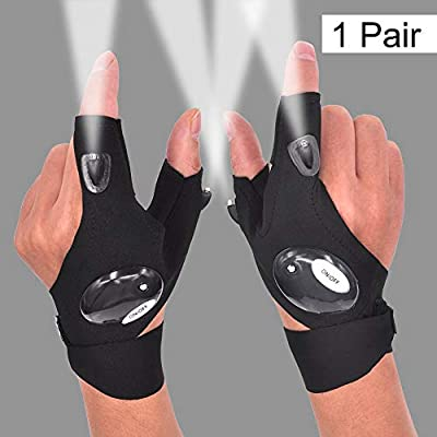 LED Flashlight Glove Outdoor Fishing Gloves With Stretchy Strap Screwdriver for Repairing Cars Night Running Fishing Camping Hiking in Dark Place (1 Pair)