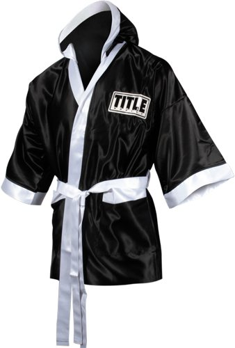 TITLE Boxing 3/4 Length Stock Satin Robe, Black/White, Small (Knockout Robe)