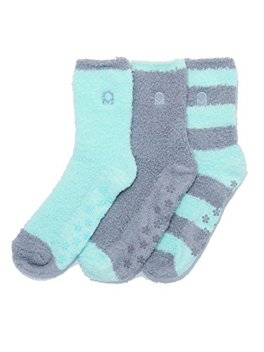 Noble Mount Women's (3 Pairs) Soft Anti-Skid Fuzzy Winter Crew Socks,Set D9,Fit sizes 9-11