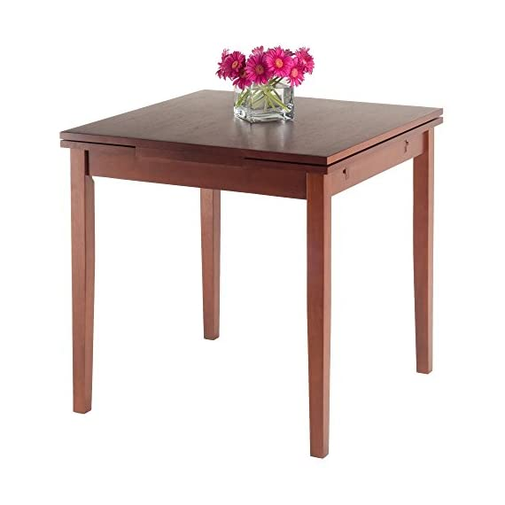 """Winsome Pulman Dining Table, Walnut - Overall extended size is 48"""" W x 29. 9"""" D x 29. 2"""" H. Compact size is 29. 9"""" W x 29. 9"""" D x 29. 2"""" H Made of solid wood in Walnut Finish Assembly required - kitchen-dining-room-furniture, kitchen-dining-room, kitchen-dining-room-tables - 41W%2BkbPAmcL. SS570  -"""