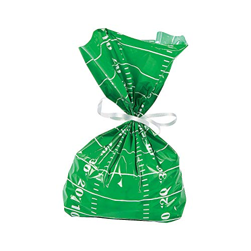 Fun Express - Football Field Cello Bags (dz) - Party Supplies - Bags - Cellophane Bags - 12 Pieces -
