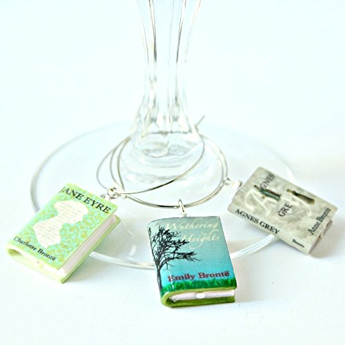 BRONTE SISTERS Clay Mini Book Wine Glass Beverage Charms by Book Beads